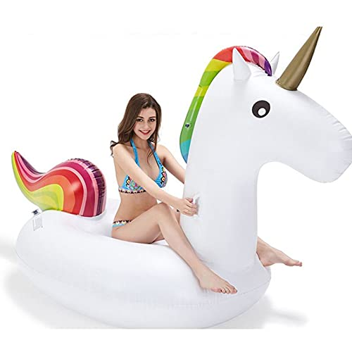 108 * 55 * 47 '' Flotador de Piscina de Unicornio Inflable Gigante con Válvulas Rápidas Verano Playa Piscina Fiesta Salón Balsa Juguetes Niños Adultos