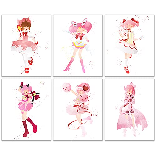 Watercolor Magical Girls Poster Prints - Set of 6 (8x10) Glossy Kawaii Wall Art Decor - Sailor Moon - Cardcaptor Sakura - Tokyo Mew Mew - Puella Magi Madoka Magica - Yuki Yuna is a Hero - Shugo Chara