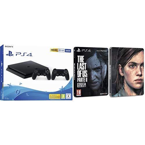 Playstation 4 (PS4) - Consola 500 Gb + 2 Mandos Dual Shock 4 (Edición Exclusiva Amazon) + The Last of Us Parte II - Edición Estándar (Exclusiva Amazon)