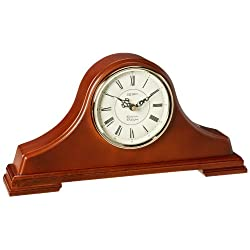 Seiko Mantel Chime Clock Dark Brown Solid Oak tambour Case