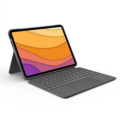 Logitech Combo Touch iPad Air (4. Gen - 2020) Keyboard Case - Abnehmbare Tastatur mit Hintergrundbeleuchtung - Click-Anywhere Trackpad, Smart Connector - Deutsches QWERTZ-Layout - Grau