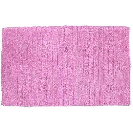 Homevibes Alfombrilla De Baño con Rayas Alfombra De Baño Rectangular Antideslizante Lavable 100% Algodón 50x80cm Absorbente (Rosa)