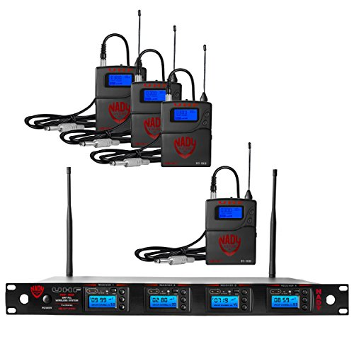Nady 4W-1KU GT Quad True Diversity 1000-Channel Professional UHF Wireless System with 4 Guitar/Instrument Bodypacks– AutoScan – Automatic Transmitter Pairing – All Metal Construction
