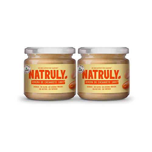 NATRULY Crema de Cacahuete Orgánica, 100% Mantequilla Cacahuetes Sin Azúcar, Sin Gluten, Sin Aceite de Palma -Pack 2x300 g