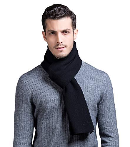 RIONA Herren 100{7e64884d1496f7fb4e993fcda15a1cd67cc2b7b6f5cce455ed96c659e8cd3d92} Australischen Merino-Wolle-Schal-Weiche Warme Krawatten Strick einheitsgröße 9001_Schwarz