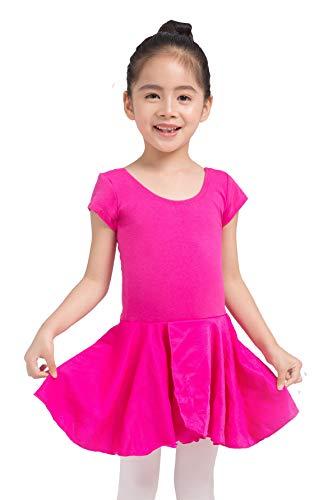 Dancina - Leotardo con Falda para Ballet en Algodón y Lycra para Niña 6-7 años Pink