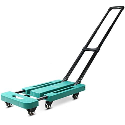 PSHHLBR Einkaufstrolleys Einkaufswagen,Haushalt Trolley,Bewegliche Gepäckwagen,Faltbar Tieflader-LKW,Stahlrod,Das Fahrwerk Gestreckt Und Verlängert (Color : Green, Size : 57cm)