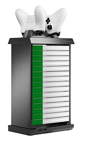 snakebyte Xbox One CHARGE:TOWER PRO - Games Tower zur Aufbewahrung von Spielen & Blu rays - inkl. 2-fach Ladeschale & 2 Akkus à 600mAh & Netzteil