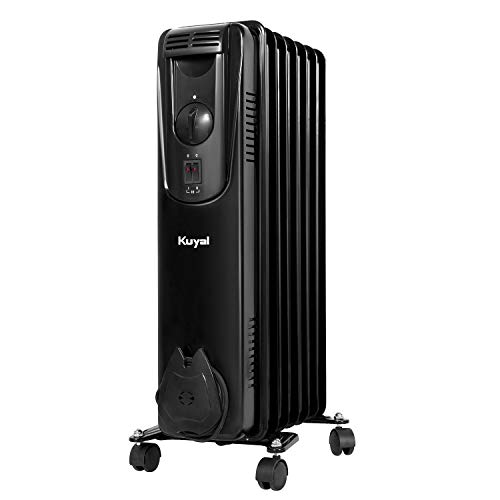 Kuyal Oil Filled Radiator Heater, 1500W Portable Electric Space Heater with 3 Heat Settings, Adjustable thermostat control, Overheat & Tip-Over Protection, for Home and Office,Black Heater Oil Space