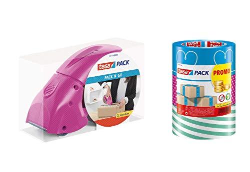 tesa - buntes Packband Klebeband / 3 Rollen a 25m x 50mm (Handabroller Pink inkl. 1 Rolle tesapack)