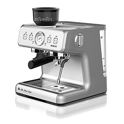 Sogo SS-5690 Cafetera Espresso Profesionál con Molinillo de Café Incorporado SS-5690, Surtidor de vapor y bomba de presión de 15 bar, calidad barista