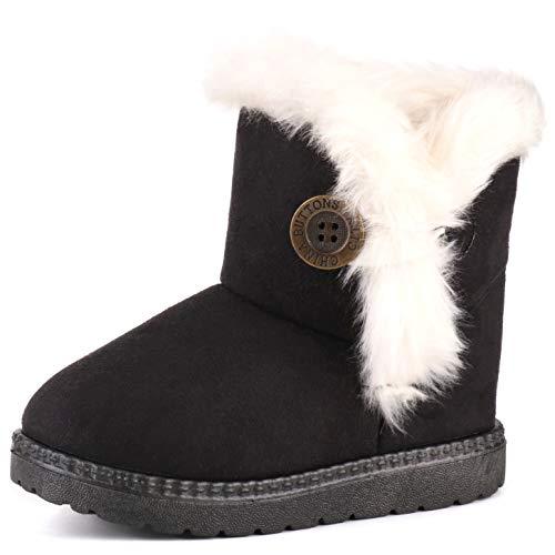 Femizee Girls Boys Warm Winter Flat Shoes Bailey Button Snow Boots(Toddler/Little Kid),Black,1929 CN28