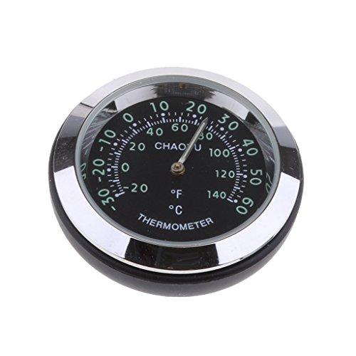 perfk Mini Auto Thermometer Temperaturanzeige aus Legierung, 38x38x15 mm, um 360 Grad gedreht - Schwarz