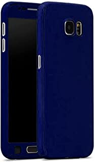 جراب سامسونج S7 Edge 360 درجة بلاستيك 3 قطع أمامية وخلفية وواقي شاشة جيلاتين - أزرق