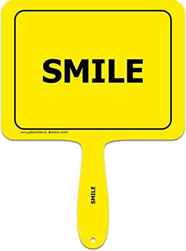 ARTICOO Smile Spruch-Schild fürs Büro, Auto, Hochzeit, Fotoboxen, Fotoshootings oder Festivals | Lustige Provokantes Spruchschild Funschild Fotobooth Fotobox