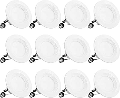 BBounder LED Recessed Lighting 4 Inch 12Pack, Dimmable, Damp Rated, LED Downlight with Baffle Trim, 9W=60W 650LM 3000K Can Lights, Simple Retrofit Installation - UL + Energy Star