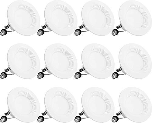 BBounder LED Recessed Lighting 4 Inch 12Pack, Dimmable, Damp Rated, LED Downlight with Baffle Trim, 8.5W=60W 650LM 5000K Can Lights, Simple Retrofit Installation - UL