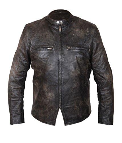 Flesh & Hide F&H Men's Burnt Distressed Cowhide Leather Biker Jacket 2XL Black