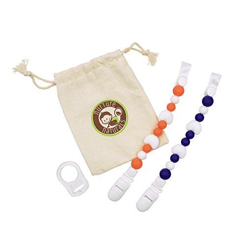 Mädchen/Jungen Schnullerkette - (2er Pack) Schnullerhalter aus Silikon - Lustige, farbige und BPA - freie Silikonring Adapter (Blau + Orange Herz Set)