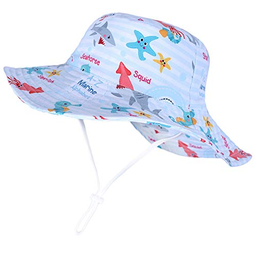 Toddler Boy Sun Protection Hats Adjustable Beach Caps Starfish Print Wide Brim Summer Play Hat for Baby Girl 12-24 Months Beach