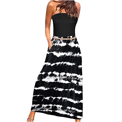 Trägerloses Maxikleid für Damen Sommer Bohemian Print Party Langes Kleid Tasche Sommerkleid Damen Freizeitkleid Rückenfreies Kleider Leicht Bandeau Strandkleider