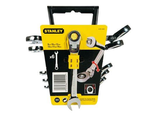 Stanley 4-91-444 6 llaves de carraca articulada (8, 10, 12, 13, 17, 19mm), Cromo
