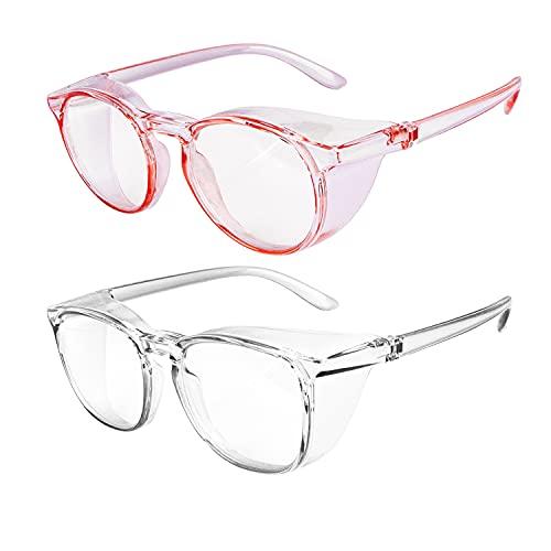 OriStout Anti-Fog Safety Glasses for Women & Men, Anti Blue Light Goggles, Fashion Protective Eyewear for Nurses, 2 Pack