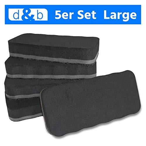 Whiteboard Schwamm Magnetisch XXL, 5er Set Schwarz, Extra Starker Magnet, Zuverlässiger Reiniger für Whiteboards, Whiteboard Zubehör
