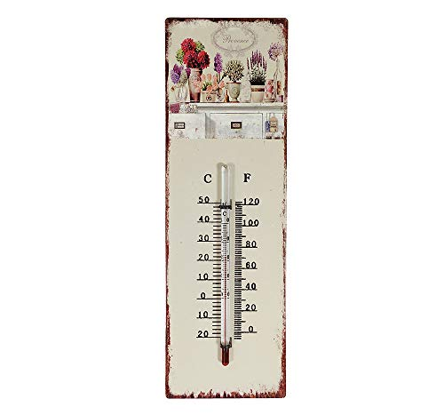 zeitzone Wandthermometer Provence Blumen Thermometer Vintage Nostalgie Blechschild