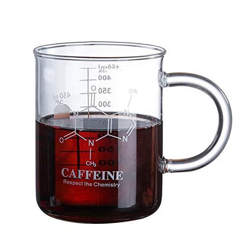 BBTY Nuevo Aislamiento a Escala de 450 ml Vidrio de Doble terraza Alto Borosilicate Flor Receptáculo Taza innovadora Taza de café Doble Pared Aislada (Color : Scale Glass Cup)