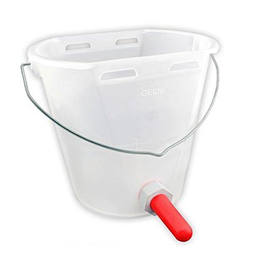 Gewa Kälbereimer TRANSPARENT 8 Liter, Kunststoff, Tränkeeimer für Kälber ✓ NEU: Transparente Farbe ✓ Mit Sauger, ✓ Ventil ✓ Halterung
