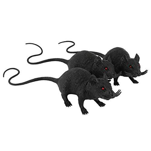 balacoo 3 Stück Plastik Ratte Spielzeug Simulation Maus Spielzeug Teaser Katzenspielzeug für Haustier Katze Interaktive Halloween Streich Witz Requisiten (Schwarz)