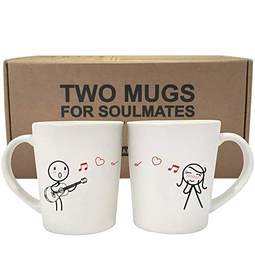 BOLDLOFT Love Me Tender Couple Coffee Mugs-Girlfriend Gifts Wife Gifts for Anniversary Valentines Day Birthday His and Hers Couples Gifts Wedding Anniversary Gifts for Her Guitar Lover Gifts