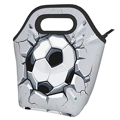 3D Football Wiederverwendbare wasserdichte Thermo-Lunch-Tasche Frauen Tote Bag Isolierte Lunchbox