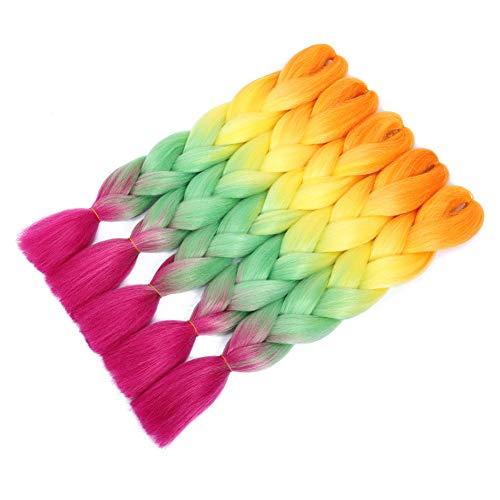 5pcs Jumbo Braid, Ombre Jumbo Braiding Hair, Kanekalon Synthetic Braiding Haarverlängerungen, Jumbo Braids 24inch 5pcs / lot (Bunt)
