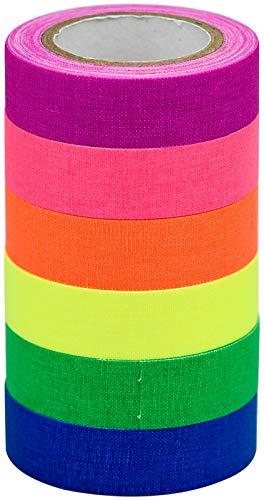 6 Rollen Neon Klebeband Fluoreszierende Tape für Parteien Kunst Handwerk Dekorationen(6 Farben)
