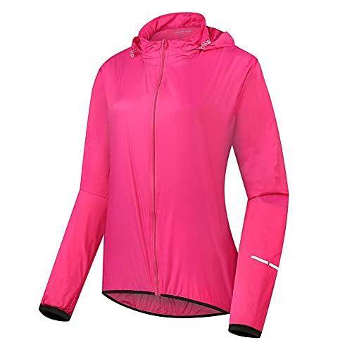 Capa de Lluvia Mujer Lluvia Ciclismo Chaqueta Reflectante Impermeable Viento luz de Viento Transpirable Rompevientos (Color : 150011B Pink, Size : S)