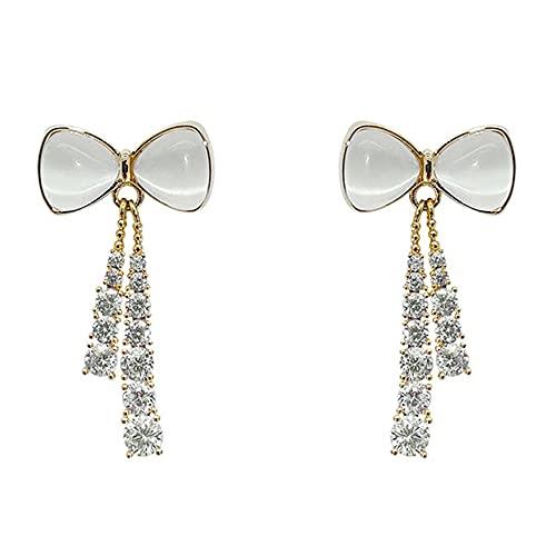 YLXAJKJGS-XCH Pendientes 925 Aguja de Plata Opal Flash Pendientes de Lazo de Diamantes Pendientes de Super Hadas Personalidad de la Moda Auriculares