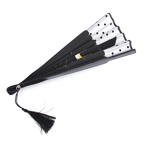 Plegable Abanico de Tela y Bambú con Dibujo Gato Negro de Estilo Japonés