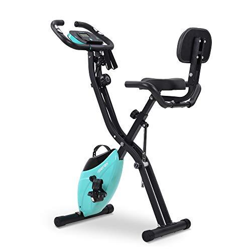 Merax Fitness Bike, Heimtrainer Klappbar, Magnetische Faltbares Fitnessfahrrad mit 10 Widerstandsstufen, Fitness Bike für Zuhause Büro Indoorcycling Bikes mit Expanderbänder, bis 150 kg(Rot) (Blau)