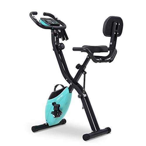 Merax BTM Fitness Bike, Exercise Bike with Training Computer and Expander Bike Cycling Bike, 10-Level Magnetic Resistance, Fitness Bike, Training Device, Foldable X-Bike Fitness Bicycle., blue