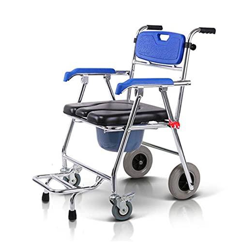 AWS025 Commode Mobile Stuhl Toilettenstuhl Sitz Rollstuhl Dusche Transportstuhl mit 4 Bremsen für Badezimmer WC-Hocker ältere Menschen
