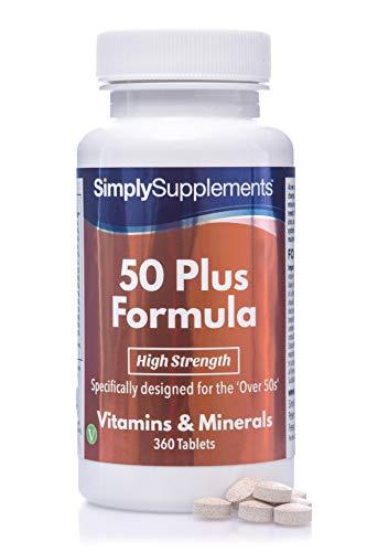 50 Plus Formel - mit Vitamin C - Geeignet für Vegetarier - 360 Tabletten - Multivitamine und Mineralien für über 50 Jährige - SimplySupplements