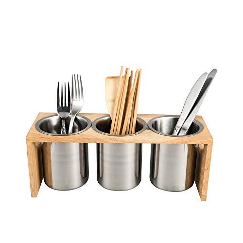 IMEEA Besteckhalter Küchen Utensilienhalter aus SUS304 Edelstahl und Baumholzbasis (3-teilig)