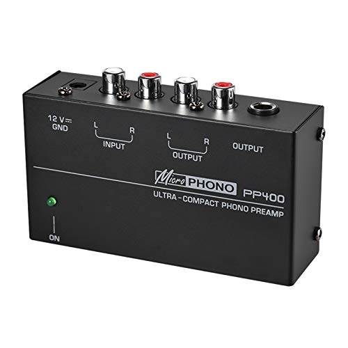 Best Bargain Youquan Ultra-Compact Phono Preamp Preamplifier with RCA 1/4Inch TRS Interfaces Preampl...