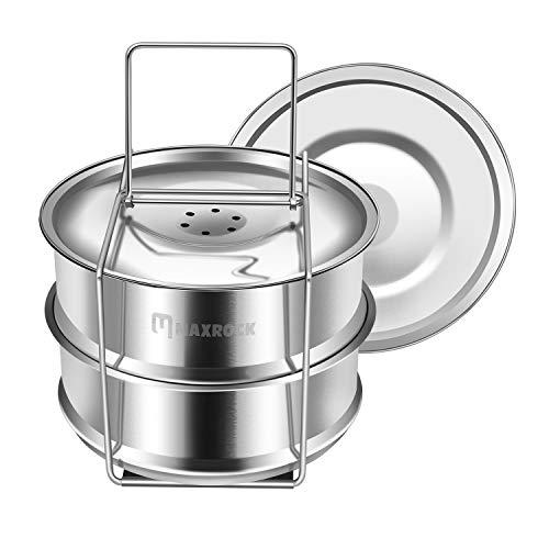 MAXROCK Stackable Stainless Steel Pressure Cooker Steamer Insert Pans-Upgraded Sling for Instant Pot Accessories 6 8 qt, Pot in Pot, Baking, Casseroles, Lasagna Pans for Pressure Cooker