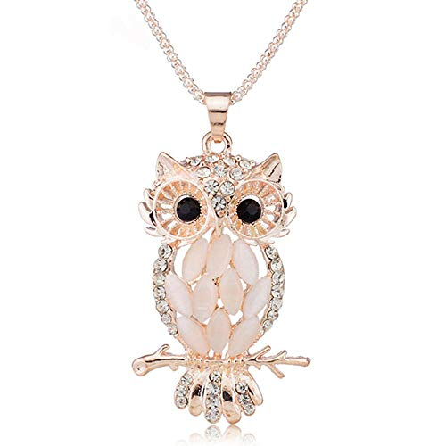 Greneric Alloy Opal Pendant Necklace Women Choker Lady Girl Owl Pendant Necklace Long Sweater Necklace Accessories