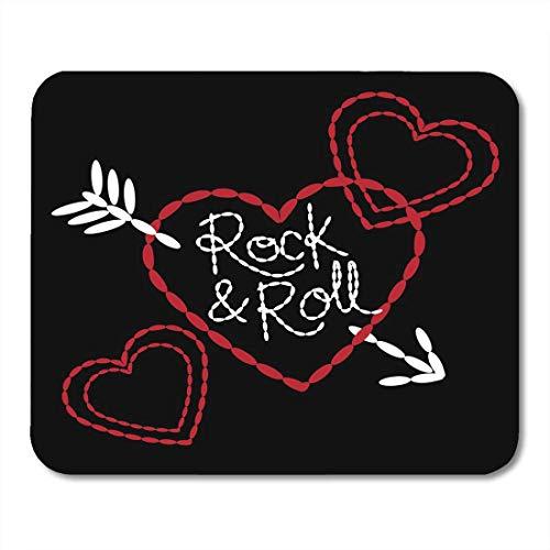 Mauspad, Applique Schöne Herzen und Pfeil Mädchen Stickerei Text und Kunstwerk Rock Roll Schwarz Rot Weiß Abstraktes Design Maus Matte Für Internet Cafe Computer,18x22cm