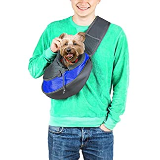 Cuddlissimo! Pet Sling Carrier - Small Dog Puppy Cat Carrying Bag Purse Pouch - For Pooch Doggy Doggie Yorkie Chihuahua Baby Papoose Bjorn - Travel Front Backpack Chest Body Holder Pack To Wear (Blue) 22