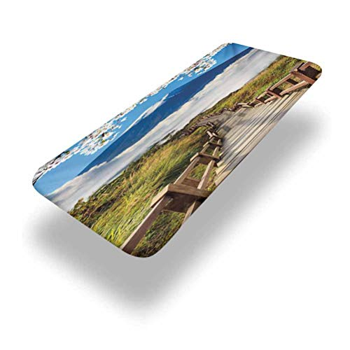 6ft Nature Elastic Edge Fitted Table Cover,Cloudy Mountain Valley Road Spring Paradise Inspirational Peaceful High Tops Scenery,Fits 28 x 72 Inch Picnic Folding Table,for Outdoor Travel/Holiday/Party